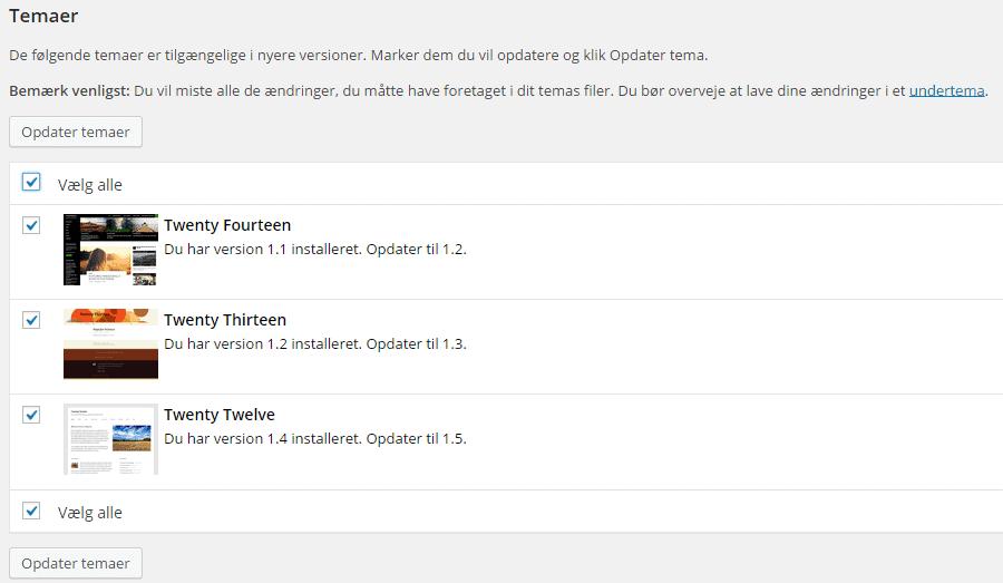 WordPress opdatering af temaer