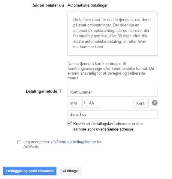 Google Ads - faktureringsoplysninger - betalingsoplysninger