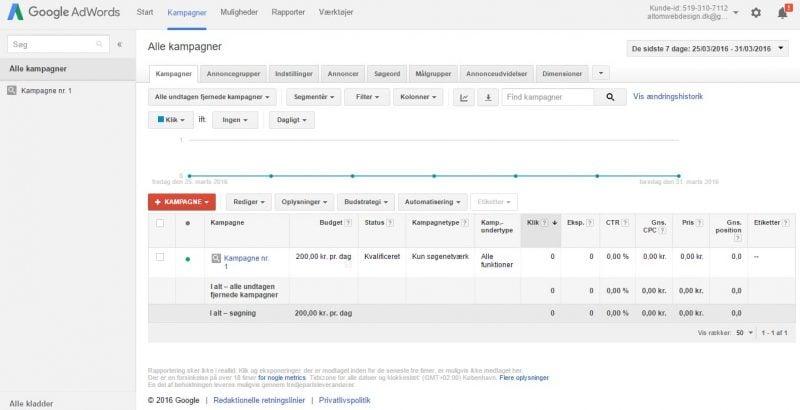 Google Ads kampagneoversigt