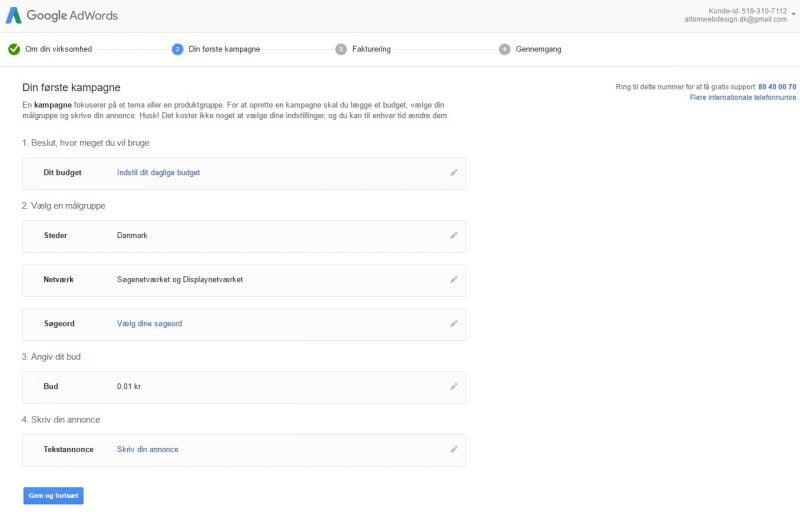 Google Ads - opsætning af konto