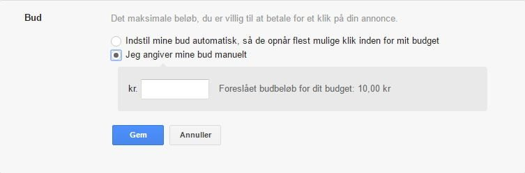 Google Ads - opsætning - angiv bud