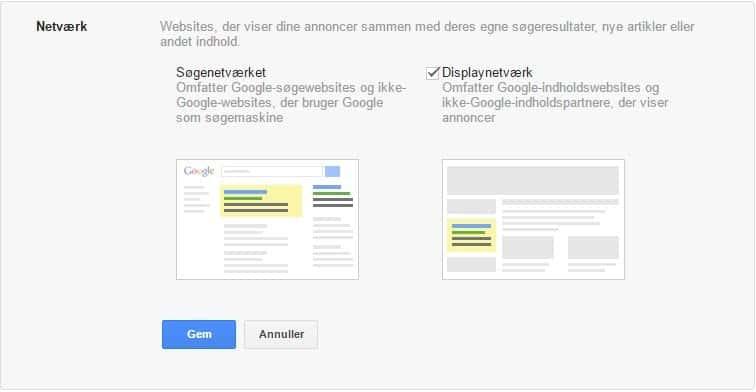 Google Ads opsætning - netværkstyper