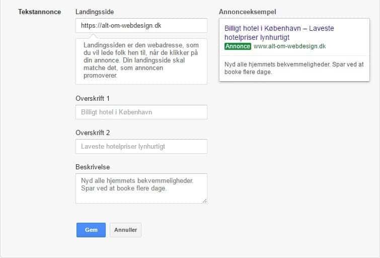 Google Ads opsætning - skriv annoncen