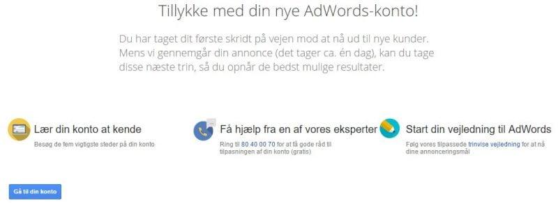 Google Ads - opsætning - tillykke