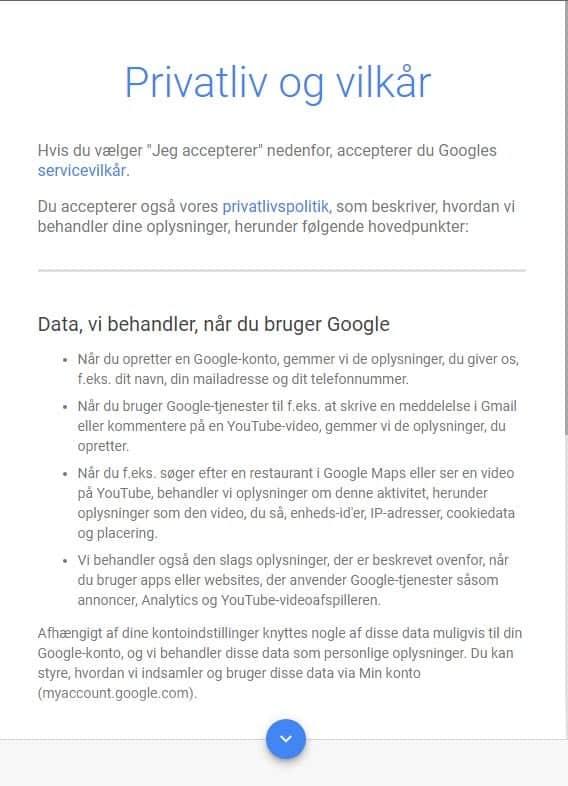 Opret Google Ads konto - accepter betingelser
