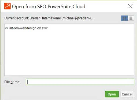 SEO PowerSuite Cloud - dialogboksen åbn projekt