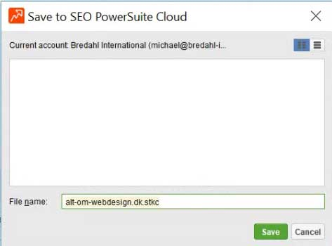 SEO PowerSuite - gem i skyen