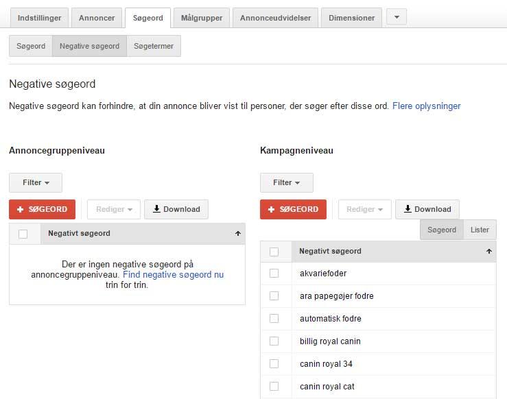 Google AdWords - negative søgeord