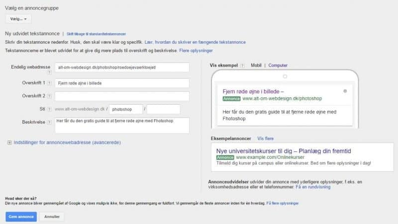 Google Ads - opret annonce - udfyld