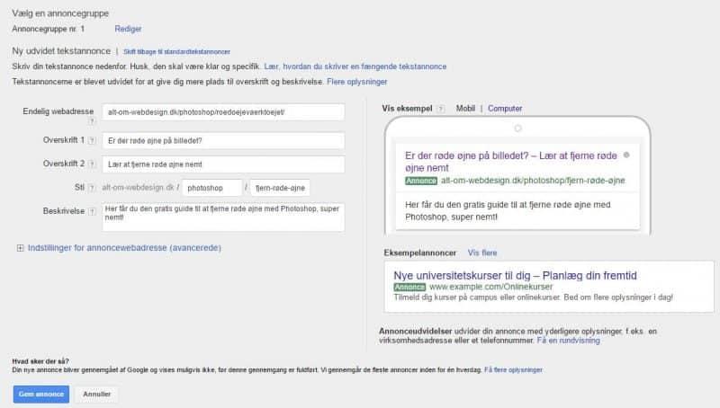 Google AdWords - opret annonce - udfyldt