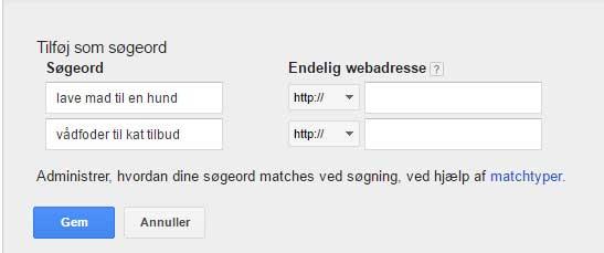 Google AdWords - tilføj søgetermer, Gem