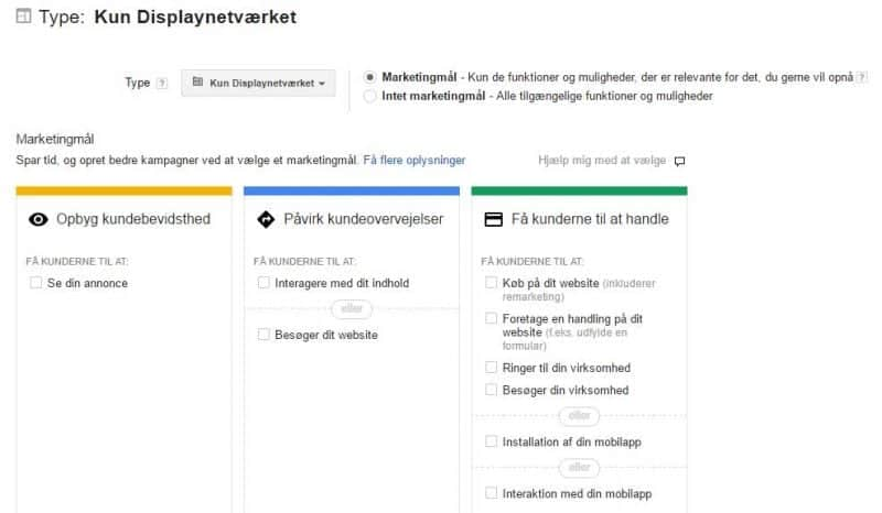 Google AdWords - type: kun Displaynetværk