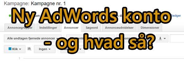 En ny Google Ads Konto, og hvad har du så?