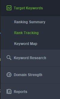Rank Tracker - menuen til venstre