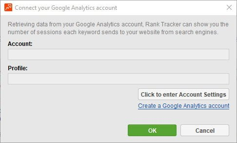 Rank Tracker - forbind Google Analytics