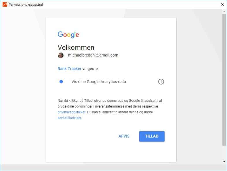 Giv Rank Tracker adgang til Google Analytics