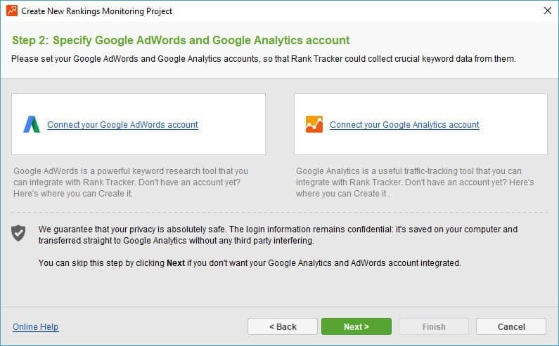 Rank Tracker - forbind Google Analytics og Google Ads