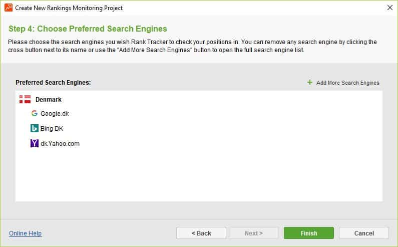 Rank Tracker - vælg søgemaskiner