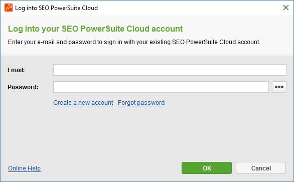 SEO PowerSuite cloud - logon