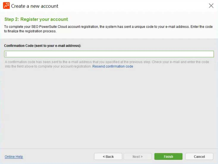 SEO PowerSuite Cloud - new account confirmation