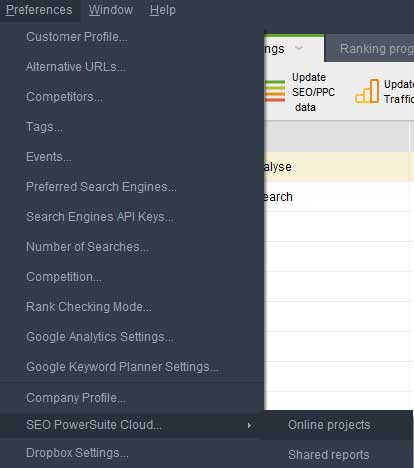 SEO PowerSuite Cloud - Preferences, cloud