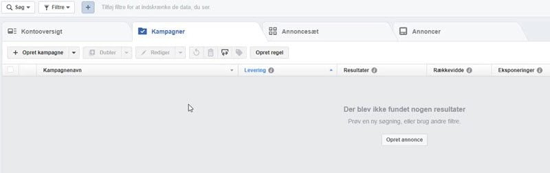 Facebook Business Manager annoncekonto oversigt