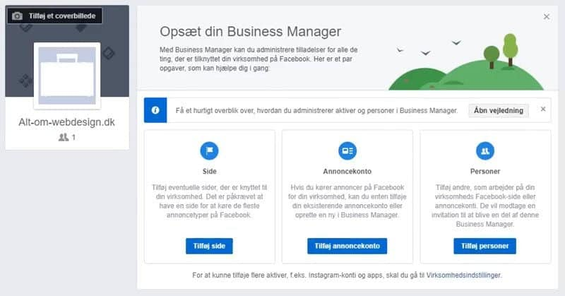 Tilpas Facebook Business Manager konto