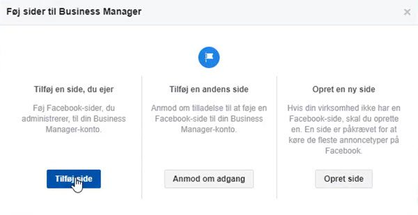 Facebook Business Manager - Tilføj side