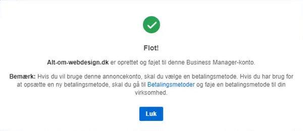 Facebook Business Manager personer oprettet