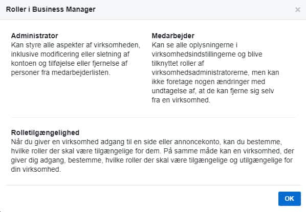 Facebook roller i Business Manager