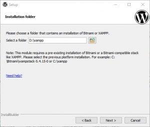 Bitnami modules - installer WordPress sti er valgt