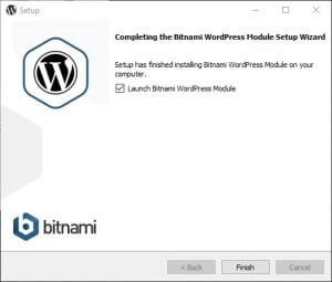 Bitnami installationen er færdig