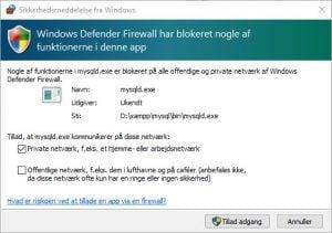 Firewall blokerer MySQL