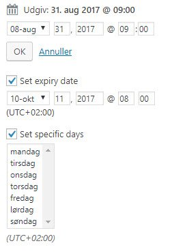 Advanced Ads - start og slut dato eller visning på bestemte dage