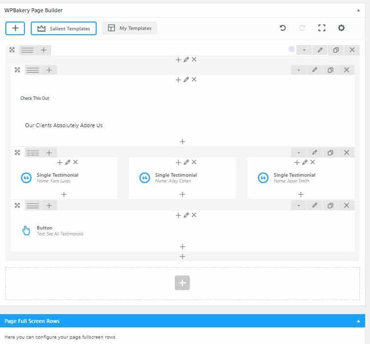 WPBakery med Salient tema modulopbyggede sider