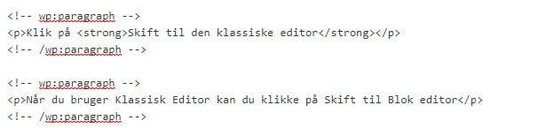 Koden der vises fra Blok editor