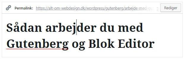 Titelblokken i Blok Editor