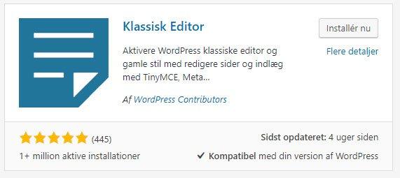 Installer klassisk editor