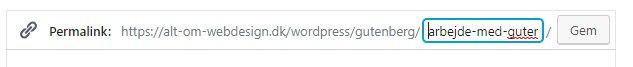 Du kan redigere den permanente adresse (URL'en) til artiklen