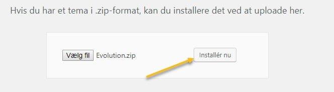 Installer nu - for at installere temaet