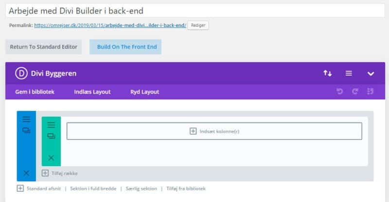 Back-end Divi Builder