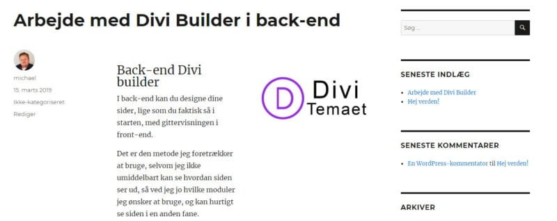 Back-end Divi Builder - forhåndsvisning