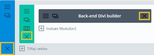 Ikonet slet sektion/række/modul