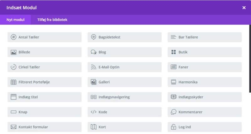 Back-end Divi Builder - Indsæt modul