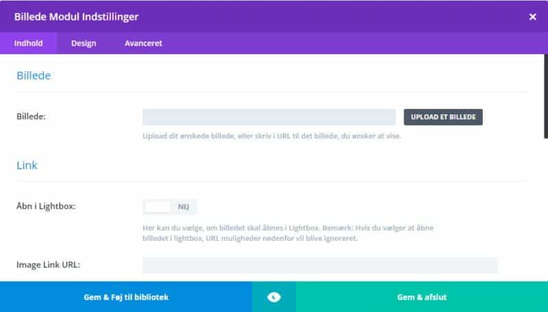 Back-end Divi Builder - modulet billede