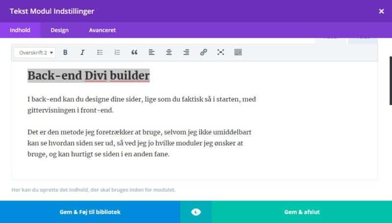 Back-end Divi Builder - indsæt/skriv og formater tekst
