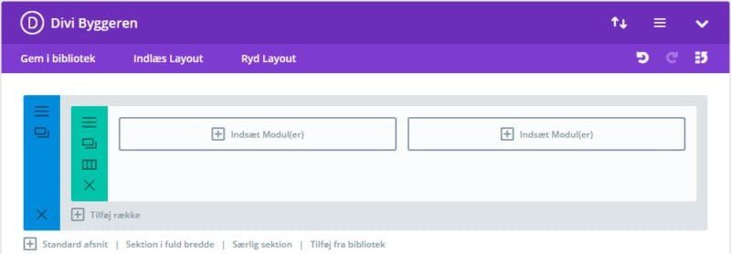 Back-end Divi Builder - To kolonner