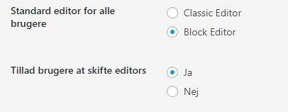 Her er Blok editor standard men du kan skifte mellem dem