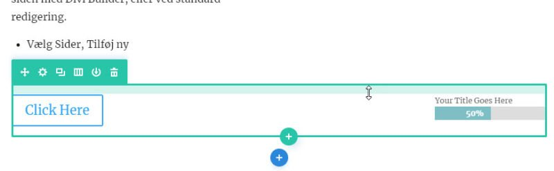 Knap og Bar tæller i to kolonner