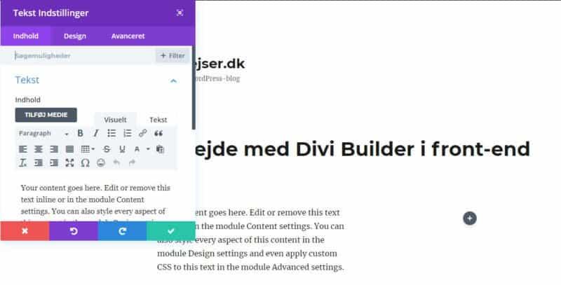 Front-end Divi Builder - arbejde med tekst